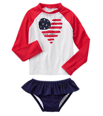 Girls White Flag Rash Guard Set by Gymboree