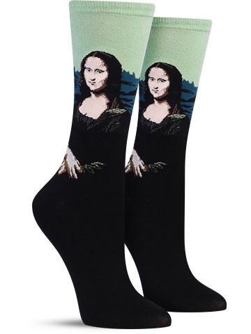 Hot_Sox_Mona_Lisa_Colorful_Art_Sock_Women_Green_IMG_7793_large
