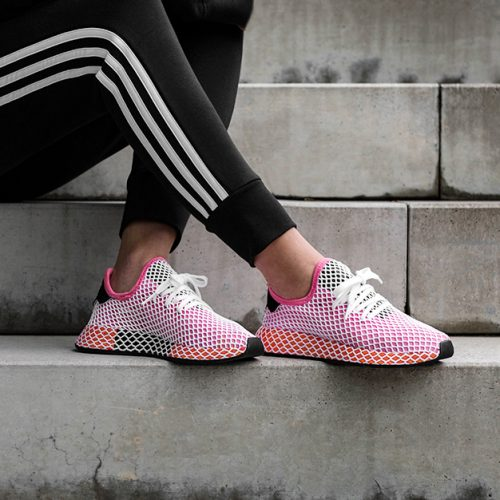 b7d7efff104975 The All New Adidas Deerupt Trainers are made of breathable mesh upper with  a netted overlay covering and lace-up closure